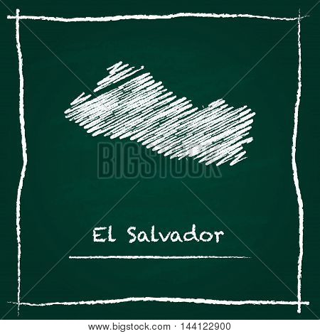 El Salvador Outline Vector Map Hand Drawn With Chalk On A Green Blackboard. Chalkboard Scribble In C