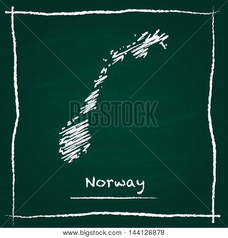 Norway Outline Vector Map Hand Drawn With Chalk On A Green Blackboard. Chalkboard Scribble In Childi