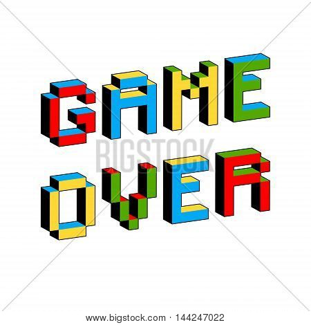 Game Over text in style of old 8-bit video games. Vibrant 3D Pixel Letters. Vector illustration. Flyer poster template. Computer Program Screen stock photo