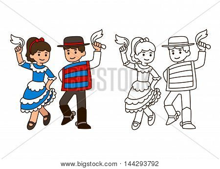 Cartoon children dancing Cueca traditional dance in Chile. Boy and girl couple in national costumes. Outline for coloring book illustration. stock photo