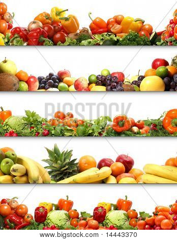 5 nutrition textures (fruits and vegetables isolated on white)-Lg Fridge Magnet Skin (size 36x65)