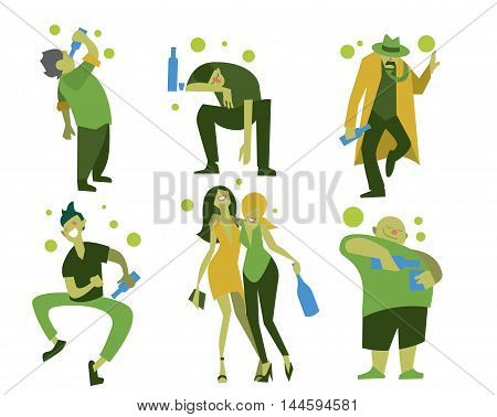 Drunk people, men and women in different situations isolated on white background vector illustration. Alcoholism concept. Drunk men. Alcoholic people. Drunkard. Cartoon drunk people. stock photo