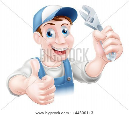 A plumber or mechanic in baseball cap holding a spanner and giving a thumbs up stock photo