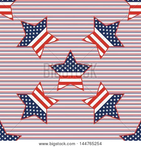 USA patriotic stars seamless pattern on red and blue diagonal stripes background. American patriotic wallpaper with USA patriotic stars. Scalable pattern vector illustration. stock photo