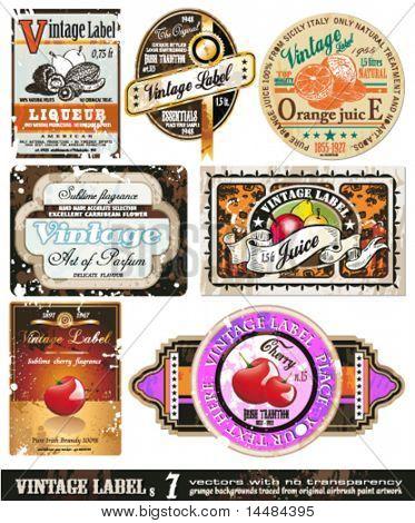 Vintage Labels Collection - 7design elements with original antique style -Set 7 stock photo