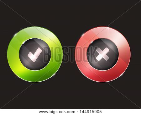 Yes no buttons. 3d. elements with glass surface. green and red stock photo