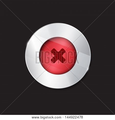 no button. 3d. silver elements with glass surface. red. stop cancel stock photo