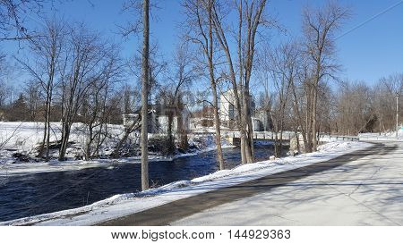 The old mill along the river in Tamworth Ontario stock photo