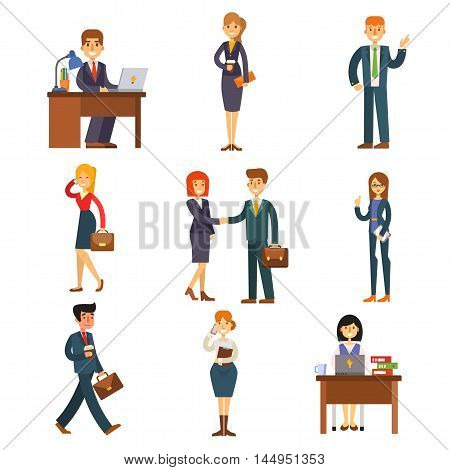 Set of business people isolated on white. Corporate teamwork happy office success business people. Professional work person business people successful meeting businessman vector character.