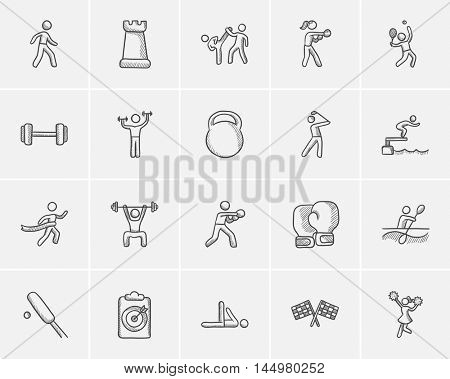 Sport sketch icon set for web, mobile and infographics. Hand drawn sport icon set. Sport vector icon set. Sport icon set isolated on white background. stock photo