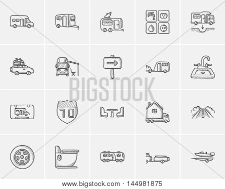 Travel and holiday sketch icon set for web, mobile and infographics. Hand drawn travel icon set. Travel and holiday vector icon set. Travel and holiday icon set isolated on white background. stock photo