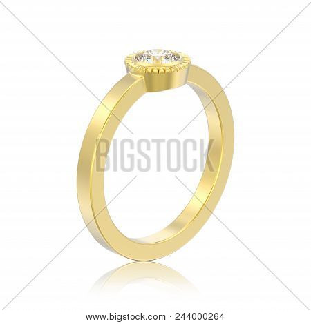 3D illustration isolated gold wedding solitaire round diamond bezel ring with reflection on a white background stock photo