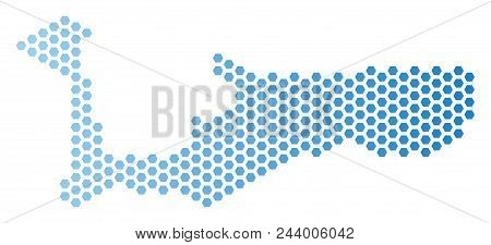 Honeycomb Grand Cayman Island map. Vector territory plan in light blue color with horizontal gradient. Abstract Grand Cayman Island map concept is designed with honeycomb dots. stock photo