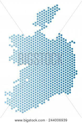 Hex Tile Ireland Republic map. Vector territory plan in light blue color with horizontal gradient. Abstract Ireland Republic map concept is containing honeycomb dots. stock photo