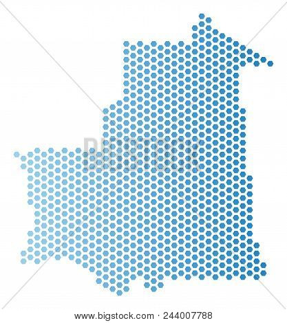 Hexagonal Mauritania map. Vector territorial plan in light blue color with horizontal gradient. Abstract Mauritania map mosaic is done with hexagonal spots. stock photo