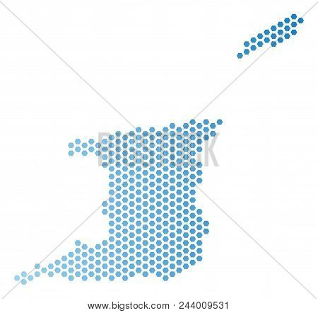 Hexagon Trinidad and Tobago map. Vector geographic plan in light blue color with horizontal gradient. Abstract Trinidad and Tobago map concept is done with hexagonal blots. stock photo
