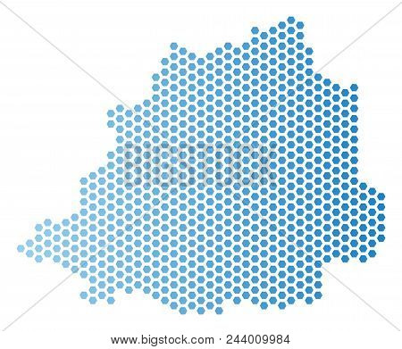 Hex Tile Vatican map. Vector geographic scheme in light blue color with horizontal gradient. Abstract Vatican map concept is combined of hex-tile dots. stock photo