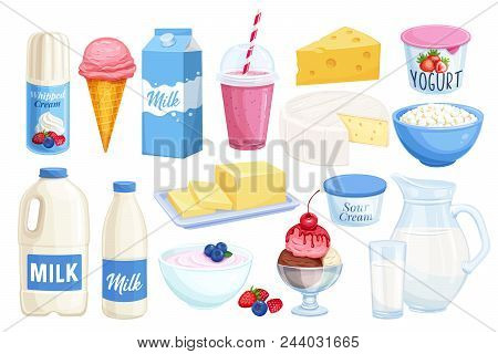 Vector set dairy products. Illustration of cottage cheese, milk, butter, cheese and sour cream. Yogurt, ice cream, smoothies, whipped cream for design market farm product. stock photo