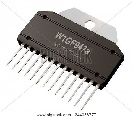 Integrated circuit or micro chip on isolated. Computer parts artificial intelligence component of electrical integrated circuits and digital potentiometers. 3d rendering of mixed-signal integrated stock photo