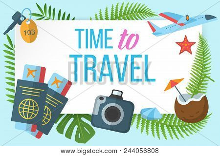 Time to travel horizontal banner with tropical plants leaves and tourism symbols vector illustration. Airplane tickets camera keys flat icons. Concept frame for booklets flayers website stock photo