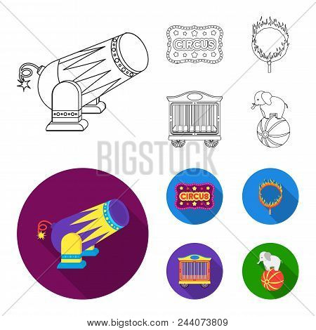 Circus trailer, circus gun, burning hoop, signboard.Circus set collection icons in outline, flat style vector symbol stock illustration . stock photo