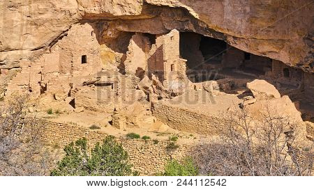 Long House Ruins, Mesa Verde National Park, Colorado, USA stock photo