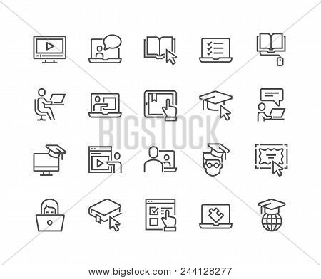 Simple Set Of Online Education Related Vector Line Icons. Contains Such Icons As Video Tutorial, E-b