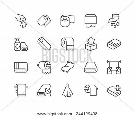 Simple Set of Towels and Napkins Related Vector Line Icons. Contains such Icons as Wet Towel, Sanitary Dispenser, Toilet Paper and more. Editable Stroke. 48x48 Pixel Perfect. stock photo