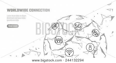 Global network connection 5G internet high speed rate. World point line worldwide information technology data exchange business. Planet Earth space low poly polygonal render vector Illustration art stock photo