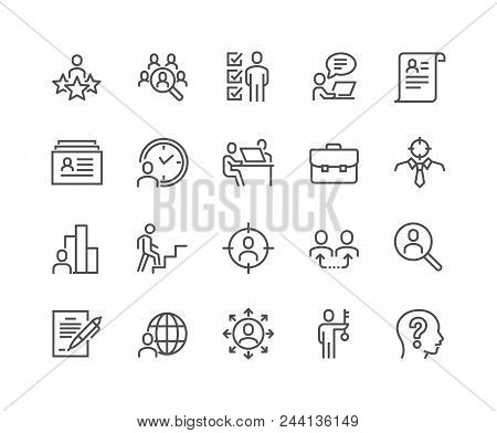 Simple Set Of Head Hunting Related Vector Line Icons. Contains Such Icons As Job Interview, Career P