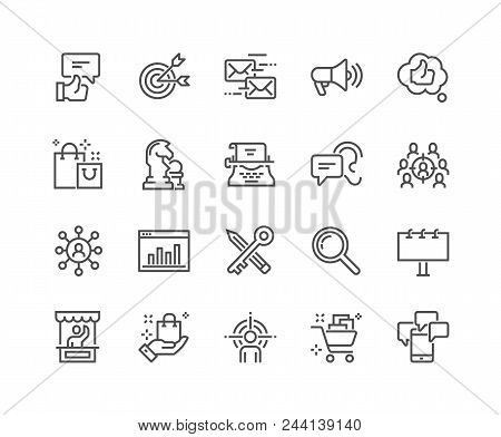 Simple Set Of Marketing Related Vector Line Icons. Contains Such Icons As Mail Marketing, Target Aud