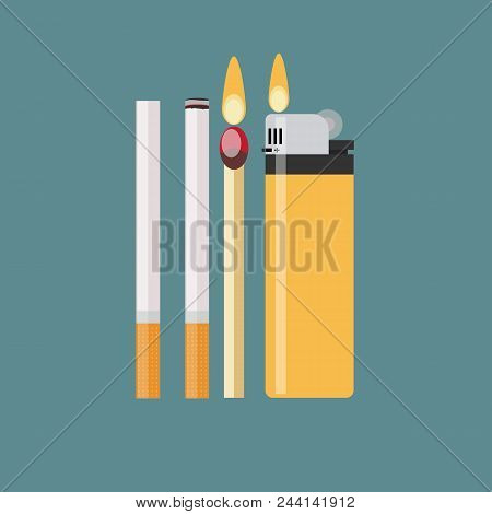 cigarette, match and lighter. Stock flat vector illustration stock photo