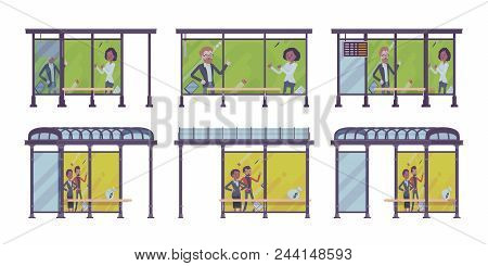 Bus stop set. Place passengers wait for public transportation, banners with advertisement. City street beautification, urban design concept. Vector flat style cartoon illustration, different positions stock photo