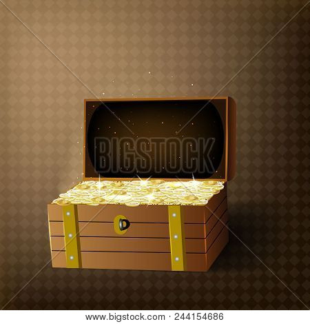 Trunk chests with gold coins treasures. Isolated on transparent background. Vector illustration. stock photo