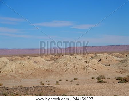 Awesome panorama of Ketthara, a water well at african Sahara desert landscapes near city of Erfoud in Morocco with clear blue sky in 2017 cold sunny winter day on February. stock photo