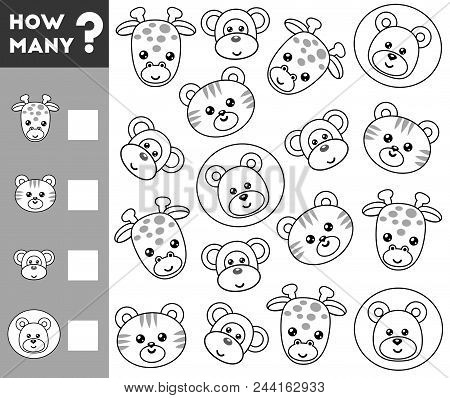 Counting Game for Preschool Children. Educational a mathematical game. Count how many animals and write the result! stock photo