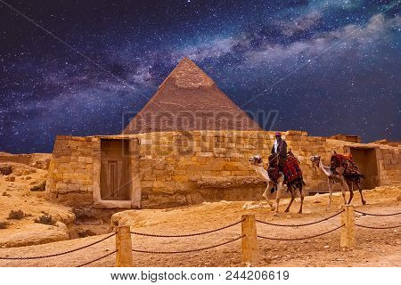 The giza plateau in the sahara desert. great pyramids in Cairo stock photo