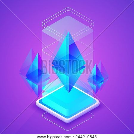 Ethereum cryptocurrency vector illustration of blockchain platform for Ether mining farm. Digital crypto currency tehcnology concept on purple ultraviolet background stock photo