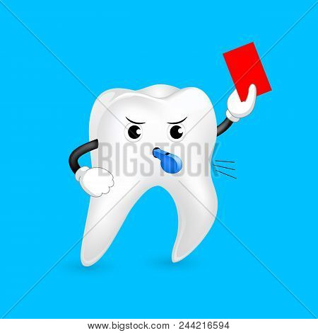 Cute cartoon tooth referee giving red card. Dental care concept. Sport character design. Illustration isolated on blue background. stock photo