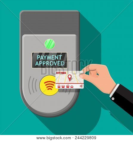 Hand holding transport card near terminal. Airport, metro, bus, subway ticket terminal validator. Wireless, contactless or cashless payments, rfid nfc. Vector illustration in flat style stock photo