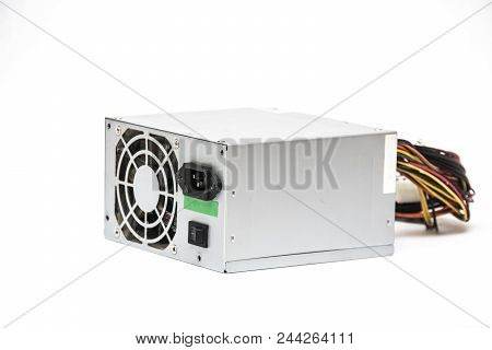 Gray power unit for computer on a white background, isolated stock photo