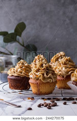 Fresh baked homemade cupcakes with coffee buttercream and caramel standing on cooling rack with eucalyptus branch and coffee beans above over white marble kitchen table. stock photo