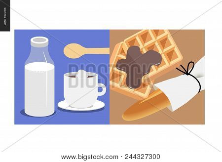 Simple things - meal - flat cartoon vector illustration of a cup of coffee with sugar and spoon, milk bottle, belgian waffles covered with milk chocolate, fresh baked bread loaf - meal composition stock photo