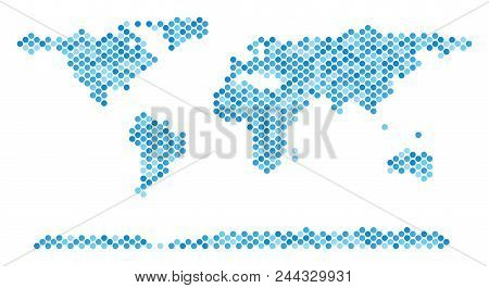Blue circle dot world continent map. Vector geographic map in cold blue color tinges on a white background. Vector composition of world continent map composed of sphere dot matrix. stock photo