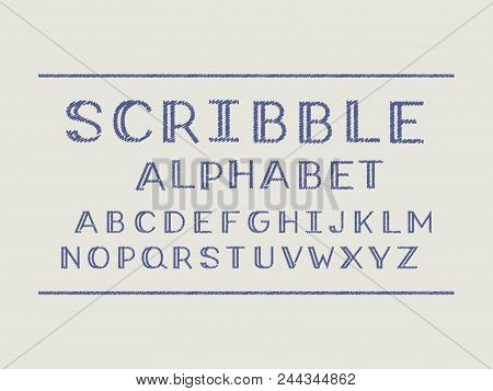 Scribble volume font. Vector alphabet letters and numbers. Typeface design. stock photo