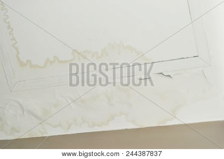 Excessive moisture can cause mold and peeling paint wall ,such as rainwater leaks or water leaks. for empty central space for text. stock photo