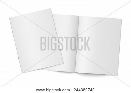 Vector mockup of two thin books with soft cover isolated. Gray vertical magazine, brochure or booklet template opened and closed on white background. 3d illustration for your design stock photo