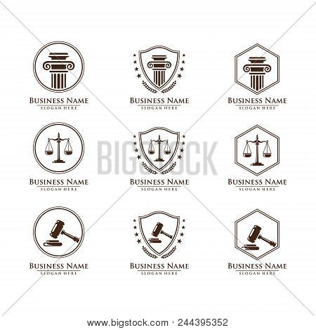 Law and Attorney logo, elegant Law and Attorney Firm vector Logo Design stock photo