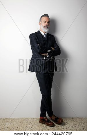 Portrait of confident bearded middle aged gentleman wearing trendy suit standing over empty white background. Studio shot. Vertical. stock photo