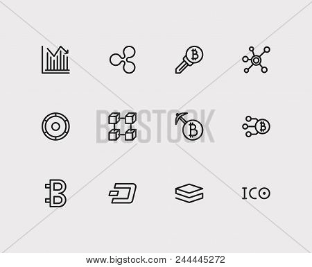 Crypto currency icons set. Stock price and crypto currency icons with bitcoin, stratis and ripple. Set of database for web app logo UI design. stock photo